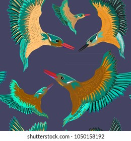 Kingfishers seamless pattern. Vector illustration of the birds on dark blue background