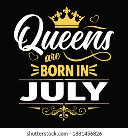 Kings are born in july - t-shirt,typography,ornament vector - Good for kids or birthday boys, scrap booking, posters, greeting cards, banners, textiles, or gifts, clothes