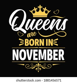 Kings are born in november - t-shirt,typography,ornament vector - Good for kids or birthday boys, scrap booking, posters, greeting cards, banners, textiles, or gifts, clothes