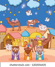 kings with camels and houses to epiphany celebration