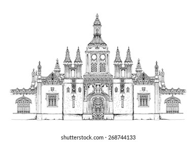 King's college main entrance gate. Cambridge. Sketch collection
