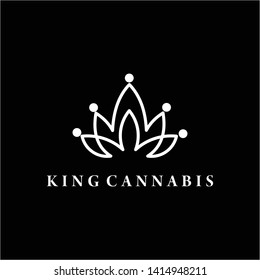 king's crown of cannabis with line art logo design inspiration-vector