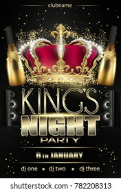 kings night party flyer background black with lights and stars (noche de reyes)