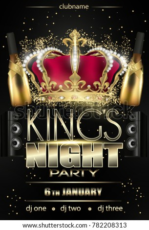 kings night party flyer background black stock vector royalty free