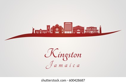 Kingston skyline in red and gray background in editable vector file