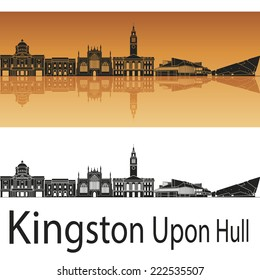 Kingston Upon Hull skyline in orange background in editable vector file