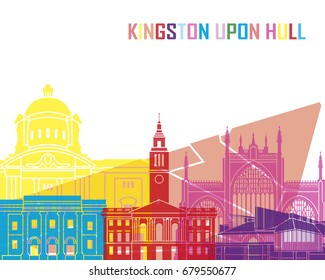 Kingston Upon Hull skyline pop in editable vector file