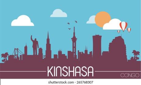 Kinshasa city Congo skyline silhouette flat design vector illustration