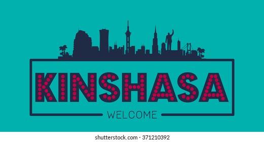 Kinshasa city skyline typographic illustration vector design