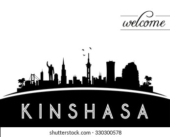 Kinshasa Congo skyline silhouette, black and white design, vector illustration