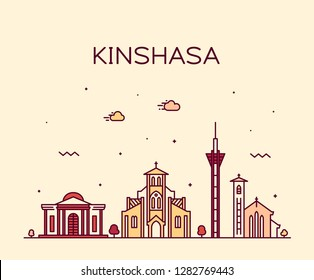 Kinshasa skyline, Democratic Republic of the Congo. Trendy vector illustration, linear style