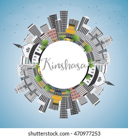 Kinshasa Skyline with Gray Buildings, Blue Sky and Copy Space. Vector Illustration. Business Travel and Tourism Concept with Historic Buildings. Image for Presentation Banner Placard and Web Site.