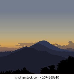 Kintamani, Bali, Indonesia. Vector sunrise illustration with three volcanos
