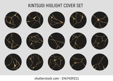 Kintsugi highlight cover set. Japanese art of repairing broken pottery. Hand drawn golden crack element. Repair our cracks and glow again.