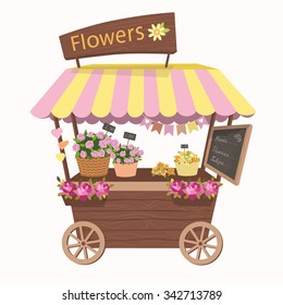Kiosk, cute booth, cafe, tent or Flower Shop with basket of flowers. Stand on wheels with flowers. Vector illustration. Cartoon market store car icon.