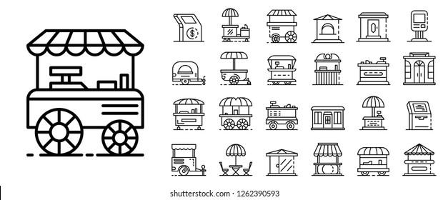 Ensemble d'icônes de kiosque. Ensemble d'icônes vectorielles de kiosque pour le design web isolées sur fond blanc