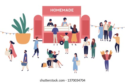 Kiosk or stall with tasty homemade meals, adorable people buying and selling street food at outdoor festival, summer open air market or seasonal fair. Modern flat cartoon vector illustration.