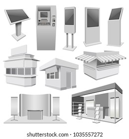 Kiosk stand booth mockup set. Realistic illustration of 10 kiosk stand booth mockups for web
