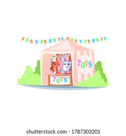 Kiosk with toys semi flat RGB color vector illustration. Street fair stand, market stall selling stuffed plush playthings. Carnival tent with children toys isolated cartoon object on white background