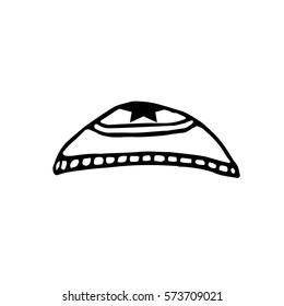 Kipa. Jewish headwear. Doodle. Sketch. Hand draw Vector illustration.