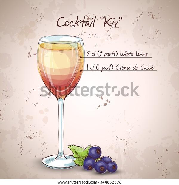Image Vectorielle De Stock De Cocktail D Alcool Kir Compose De