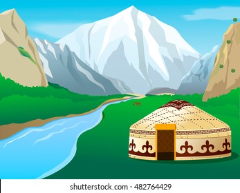 Kirghiz nomadic ornamental yurt in the gorge with mountains landscape vector illustration