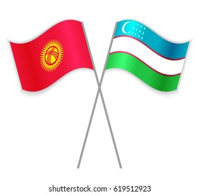 Kirgiz and Uzbek crossed flags. Kyrgyzstan combined with Uzbekistan isolated on white. Language learning, international business or travel concept.