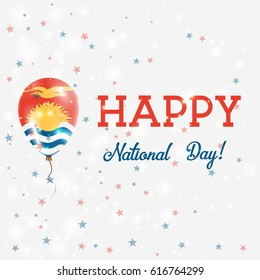 Kiribati National Day patriotic poster. Flying Rubber Balloon in Colors of the I-Kiribati Flag. Kiribati National Day background with Balloon, Confetti, Stars, Bokeh and Sparkles.