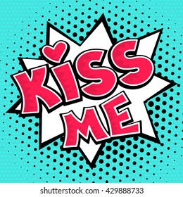 Kiss lettering on dots background. Vector illustration in comic retro pop art style.
