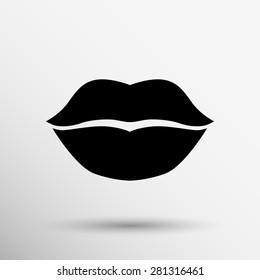 Kiss lips vector lipstick icon passion symbol people female.