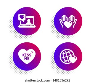 Kiss me, Hold heart and Friends chat icons simple set. Halftone dots button. Friends world sign. Love sweetheart, Care love. Love set. Classic flat kiss me icon. Vector