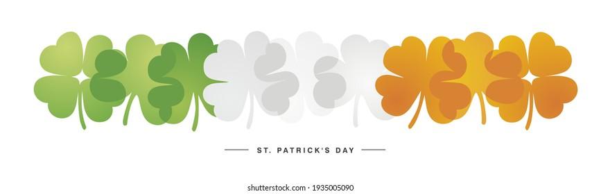 Kiss me I am Irish Saint Patrick's Day sticker label design three leaf clovers and green heart on dark green background