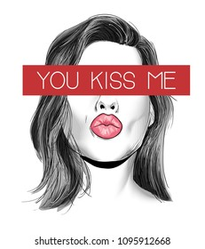 kiss me slogan with girl illustraion
