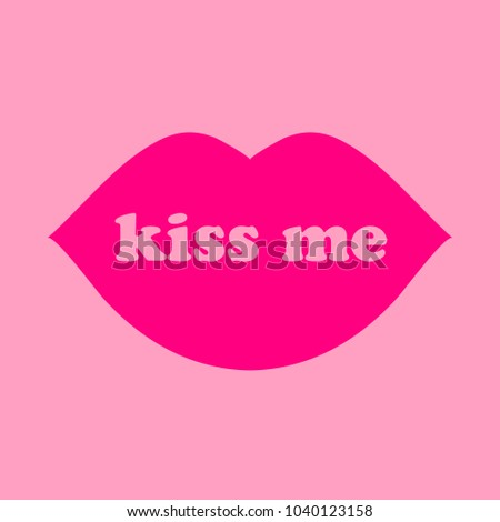 Kiss Me Text Lips Symbol Stock Vector Royalty Free 1040123158