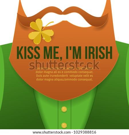 Kiss Meim Irish Saint Patrick Day Character Stock Vector Royalty