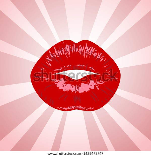 Kiss Pop Art Lips Kiss Mouth Stock Vector Royalty Free 1628498947