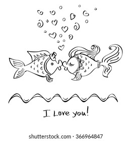 Kiss of two fishes drawing on a white background