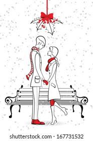 Kiss under the mistletoe