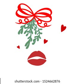 Kiss under mistletoe Christmas tradition decoration red lips hearts vector set isolated