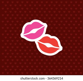 Kisses. Valentine`s Day Icon. Love Vector Illustration