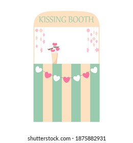 Kissing booth for valentine's day, wedding. Romantic holiday element. Vector flat illustration.