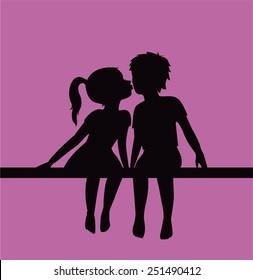 Kissing children silhouette