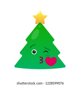 Kissing christmas tree isolated emoticon. Sweetheart green fir tree with decoration emoji. Merry Christmas and happy new year vector element. Romantic face with facial expression. Winter holidays sign