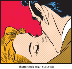 Kissing Couple - Contains separate solid color and dot layers