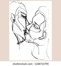 Kissing couple. Hand-drawn vector romantic illustration for your valentine's day card or for other design.