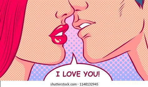 Kissing couple. I love you speech bubble. Valentine's day concept. Pop art vector comic illustration.