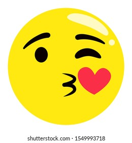 Kissing emoji vector, isolated emoticon winking and sending kiss flat style. Happy yellow face with heart and closed eye, character in love. Lovely feelings of bald head expressing sweet emotions