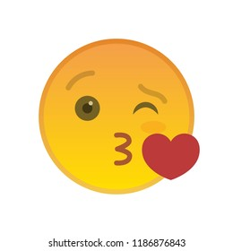 Kissing emoticon isolated on white background. Amorously yellow emoji symbol. Social communication and internet chatting vector element. Lovely smiley face with facial expression in flat style
