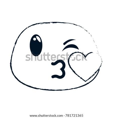 Kissing Face Emoji Character Stock Vector 781721365 Shutterstock
