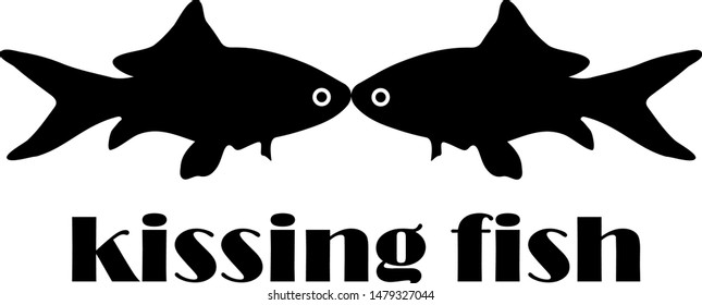 Kissing Fish Silhouette , Editable Vector Art
